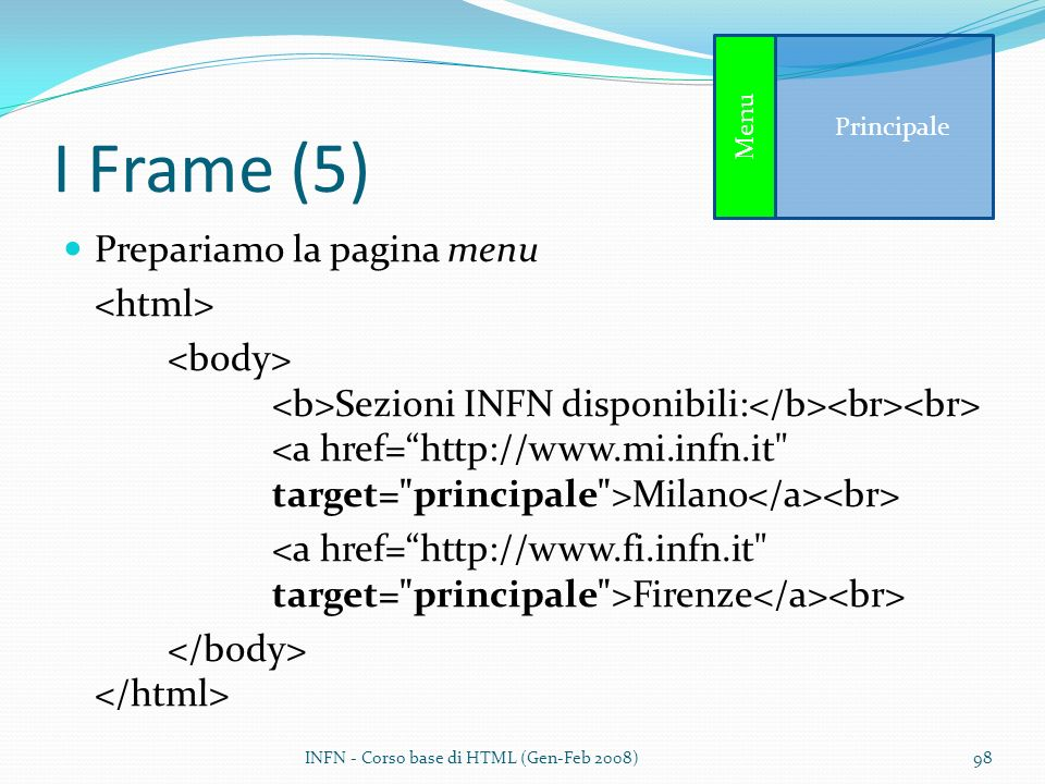 I Frame (5) Prepariamo la pagina menu <html>