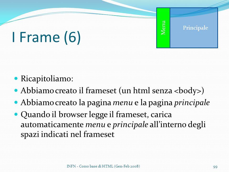 I Frame (6) Ricapitoliamo: