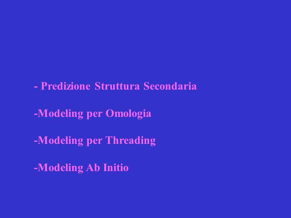 - Predizione Struttura Secondaria -Modeling per Omologia