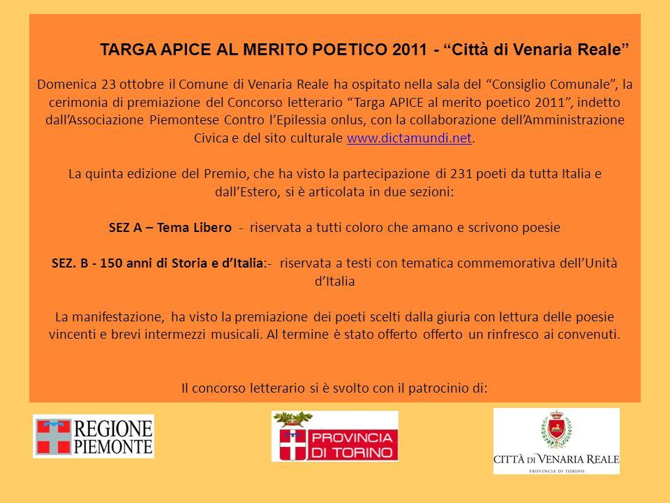 TARGA APICE AL MERITO POETICO 2011 - Città di Venaria Reale