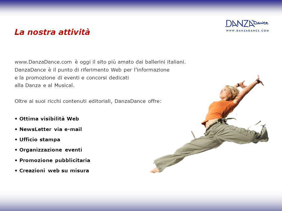 La nostra attività www.DanzaDance.com è oggi il sito più amato dai ballerini italiani. DanzaDance è il punto di riferimento Web per l'informazione.