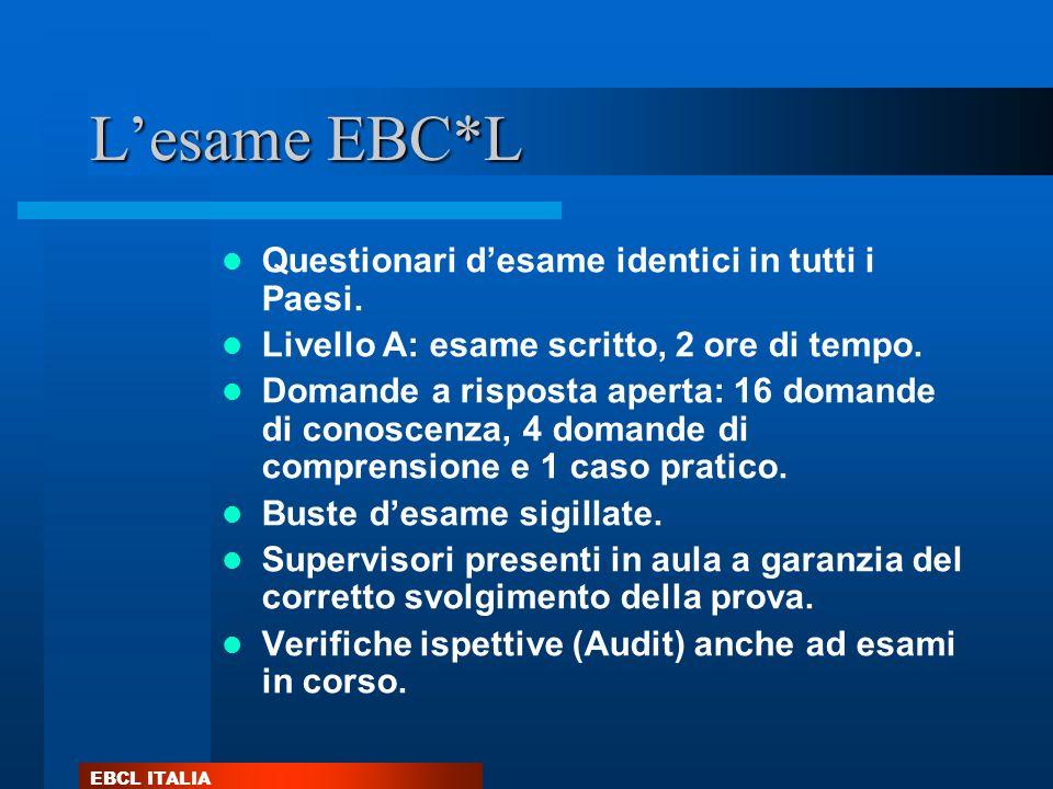 L'esame EBC*L Questionari d'esame identici in tutti i Paesi.