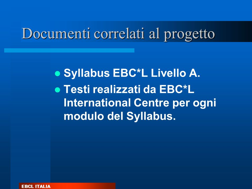 Documenti correlati al progetto