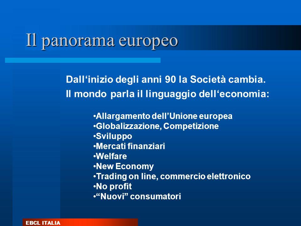 Il panorama europeo Dall'inizio degli anni 90 la Società cambia.