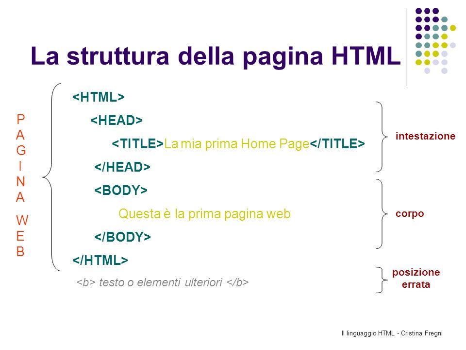 La struttura della pagina HTML