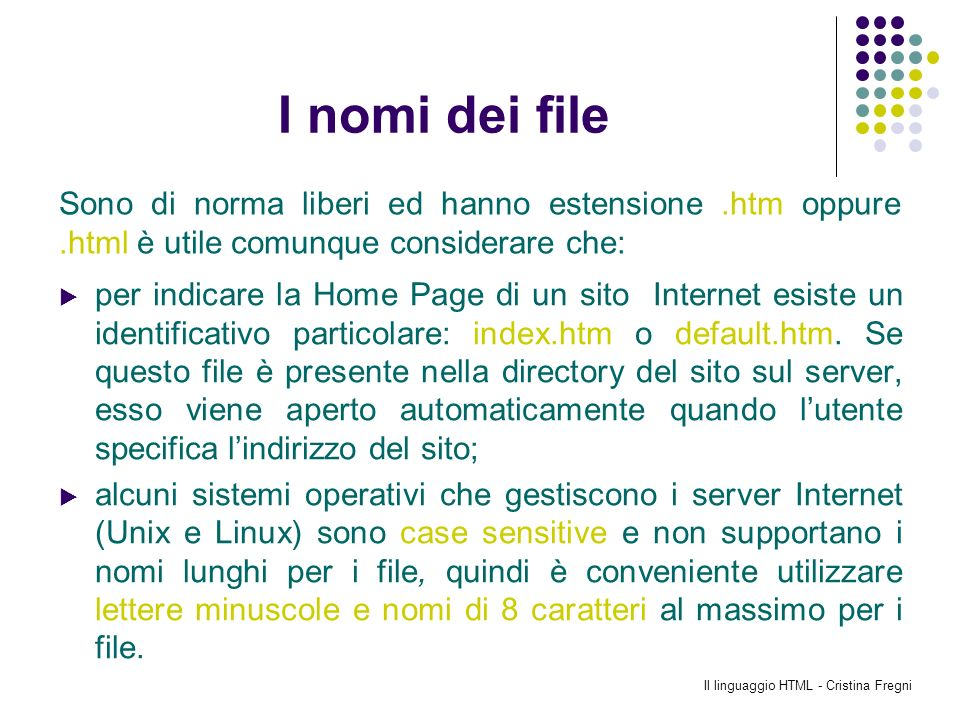 Il linguaggio HTML - Cristina Fregni