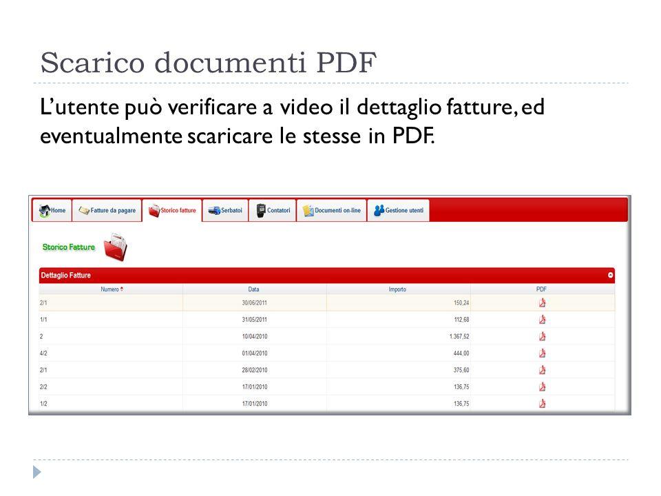 Scarico documenti PDF L'utente può verificare a video il dettaglio fatture, ed eventualmente scaricare le stesse in PDF.