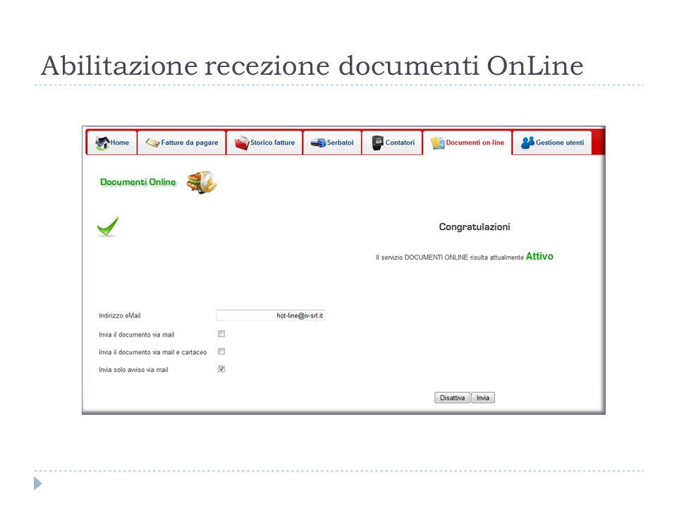 Abilitazione recezione documenti OnLine