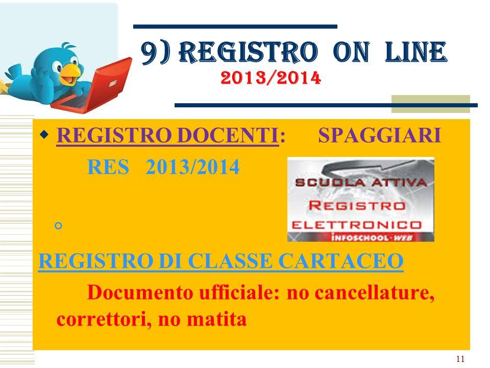 9) Registro on line 2013/2014 REGISTRO DOCENTI: SPAGGIARI