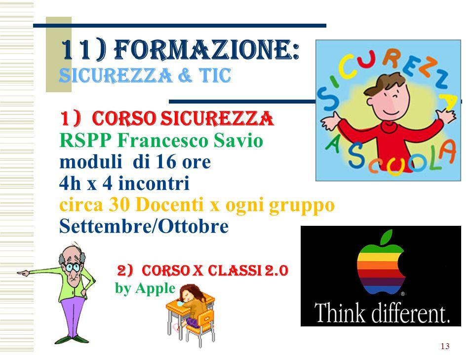 11) formazione: Sicurezza & tic 1) Corso sicurezza RSPP Francesco Savio moduli di 16 ore 4h x 4 incontri circa 30 Docenti x ogni gruppo Settembre/Ottobre 2) Corso x classi 2.0 by Apple