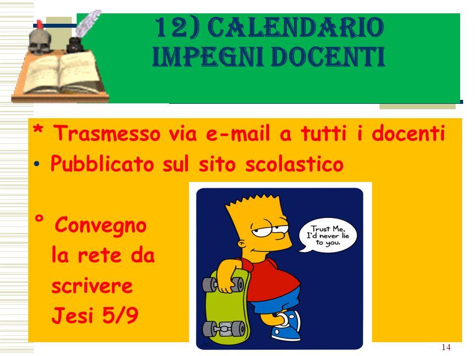 12) Calendario impegni docenti