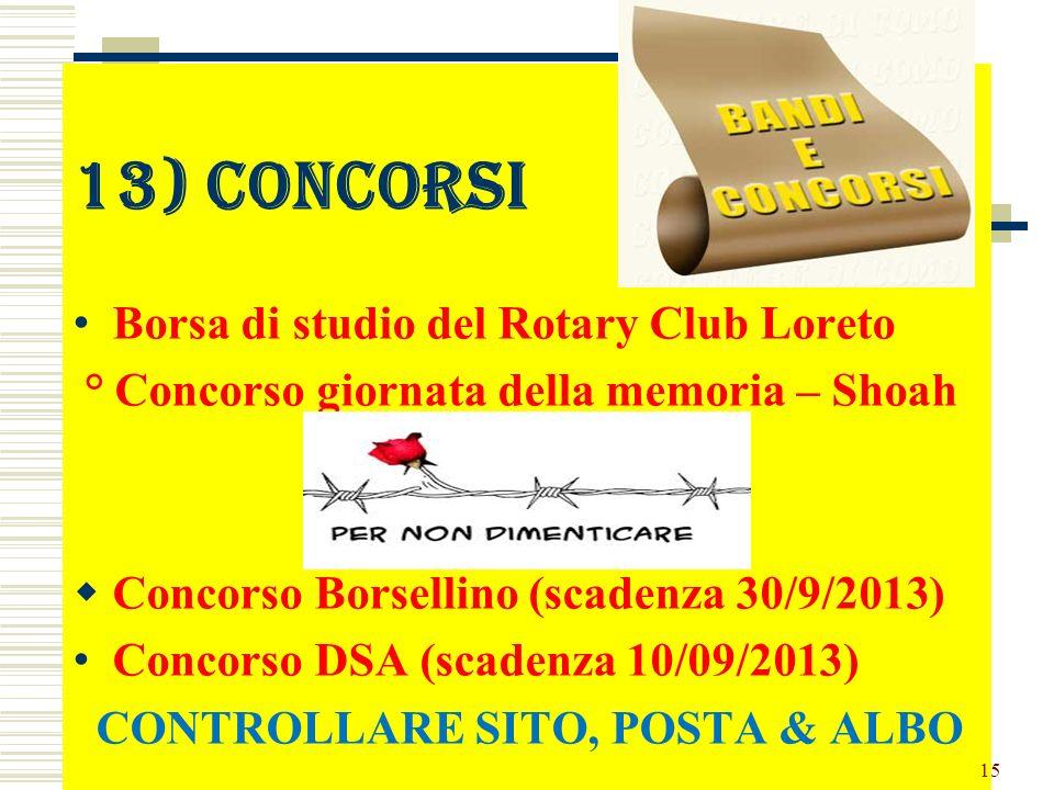 13) concorsi Borsa di studio del Rotary Club Loreto