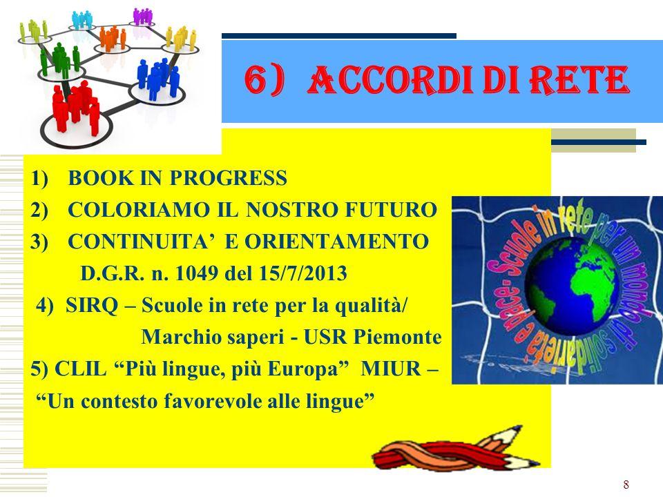 6) ACCORDI DI RETE BOOK IN PROGRESS COLORIAMO IL NOSTRO FUTURO