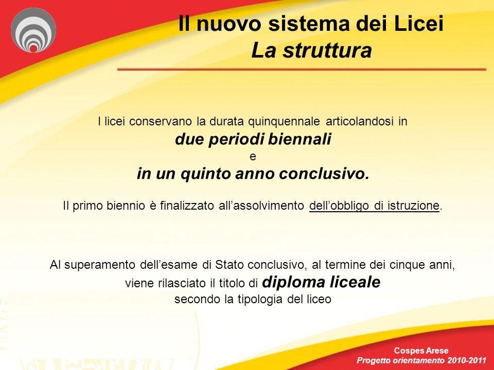 Il nuovo sistema dei Licei Progetto orientamento 2010-2011