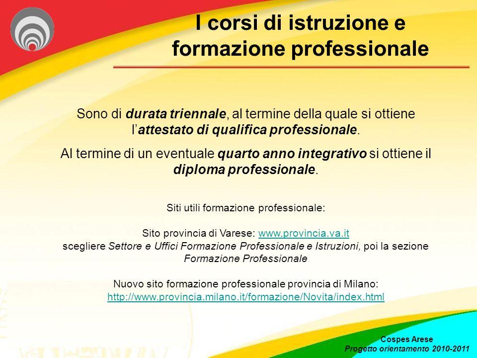 I corsi di istruzione e formazione professionale