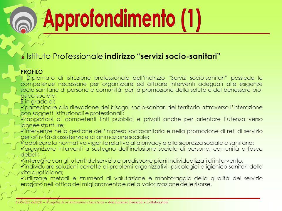 Approfondimento (1) Istituto Professionale indirizzo servizi socio-sanitari PROFILO.