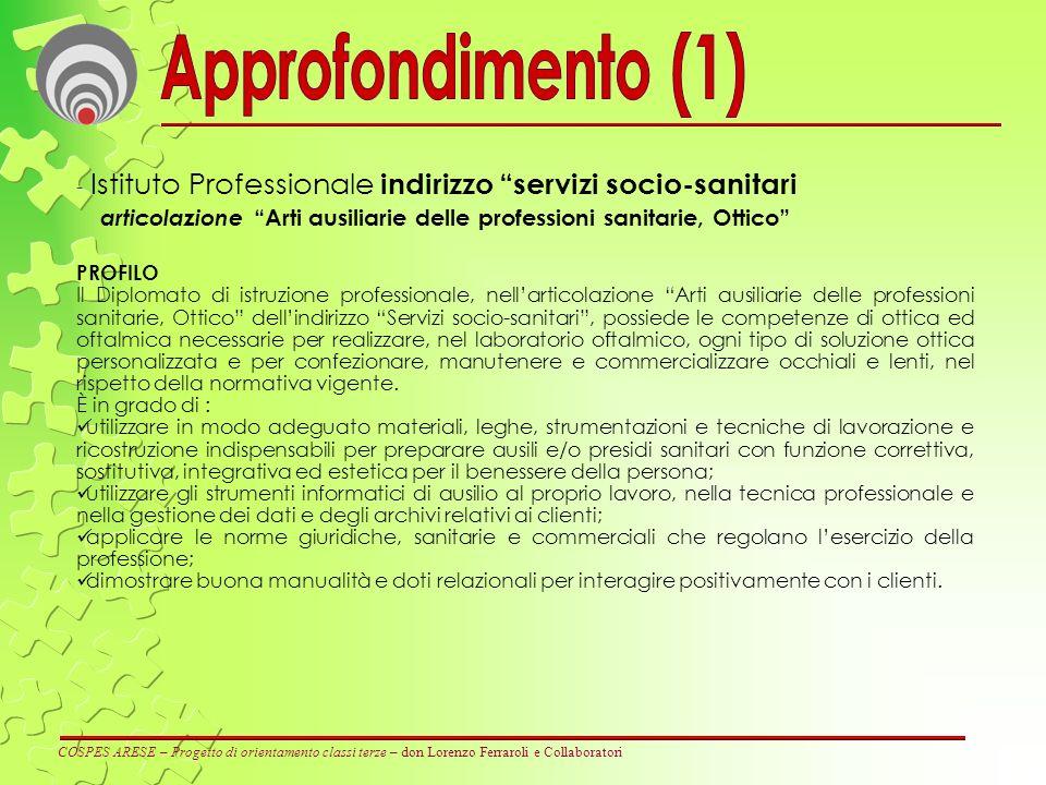 Approfondimento (1) Istituto Professionale indirizzo servizi socio-sanitari. articolazione Arti ausiliarie delle professioni sanitarie, Ottico