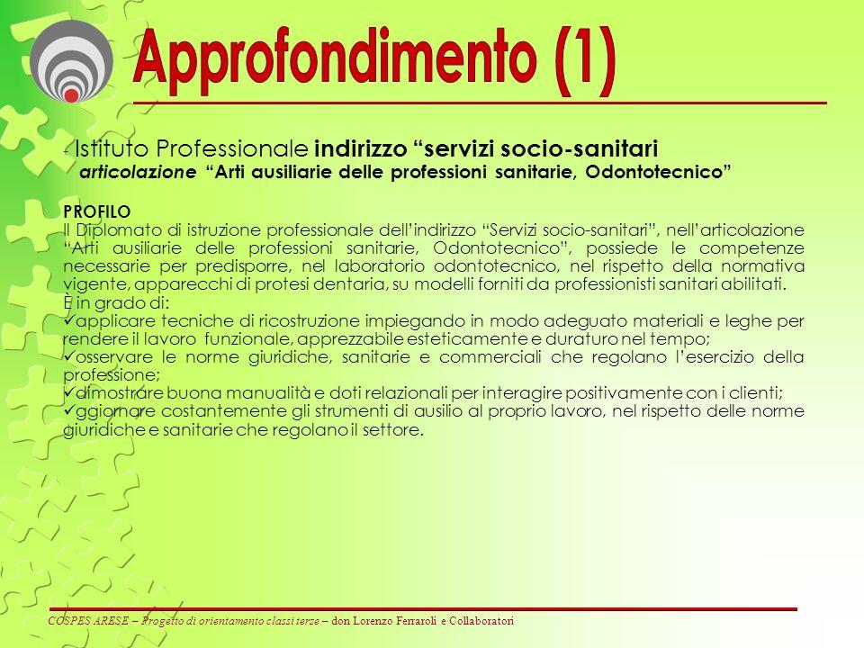 Approfondimento (1) Istituto Professionale indirizzo servizi socio-sanitari.