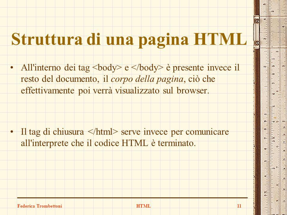 Struttura di una pagina HTML