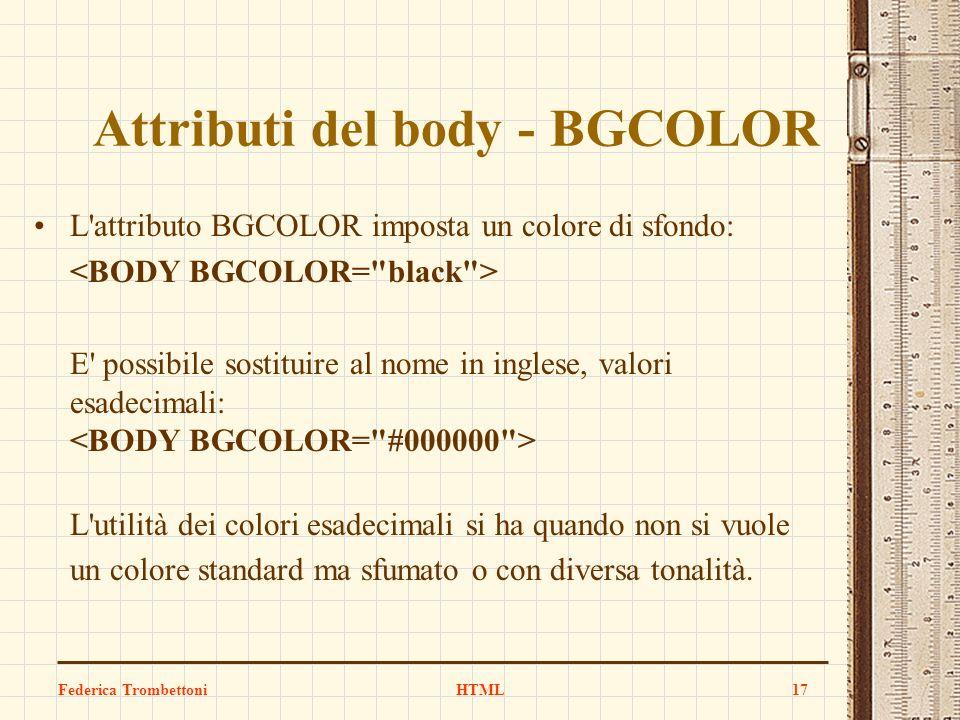 Attributi del body - BGCOLOR