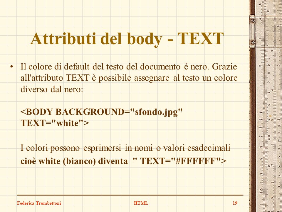 Attributi del body - TEXT