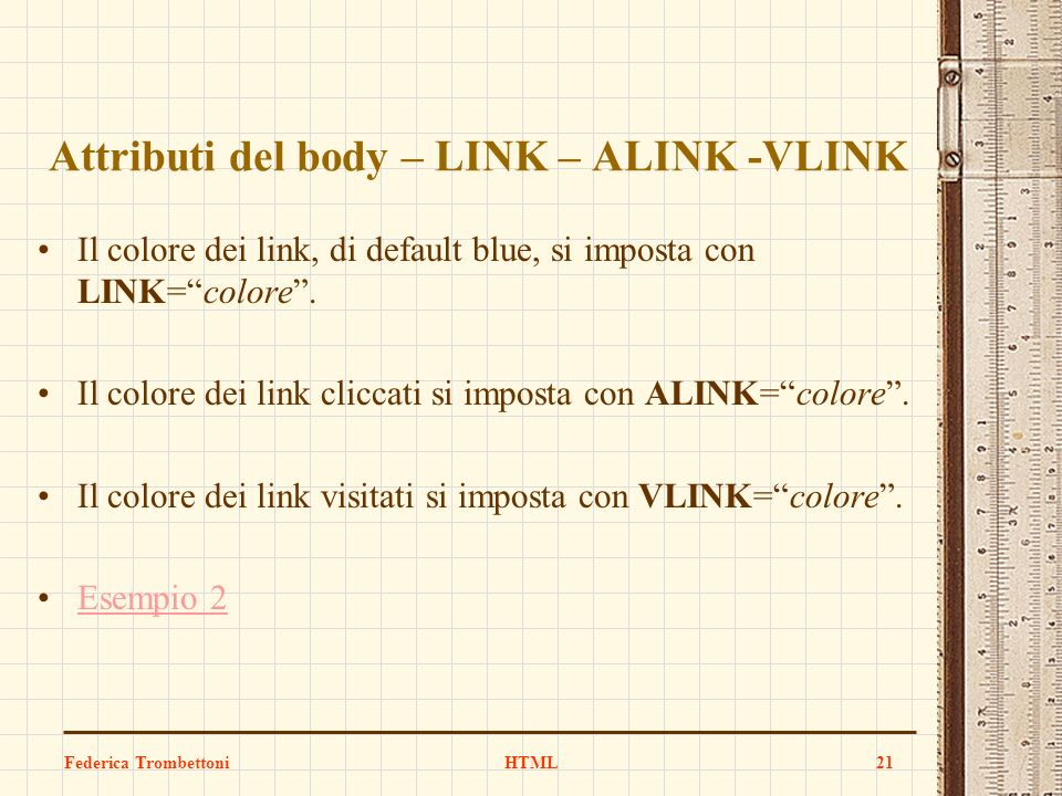 Attributi del body – LINK – ALINK -VLINK