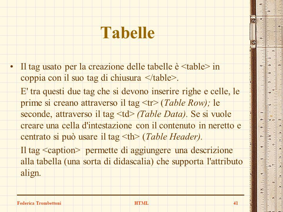 Tabelle Il tag usato per la creazione delle tabelle è <table> in coppia con il suo tag di chiusura </table>.