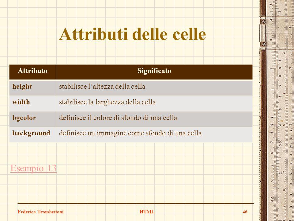 Attributi delle celle Esempio 13 Attributo Significato height