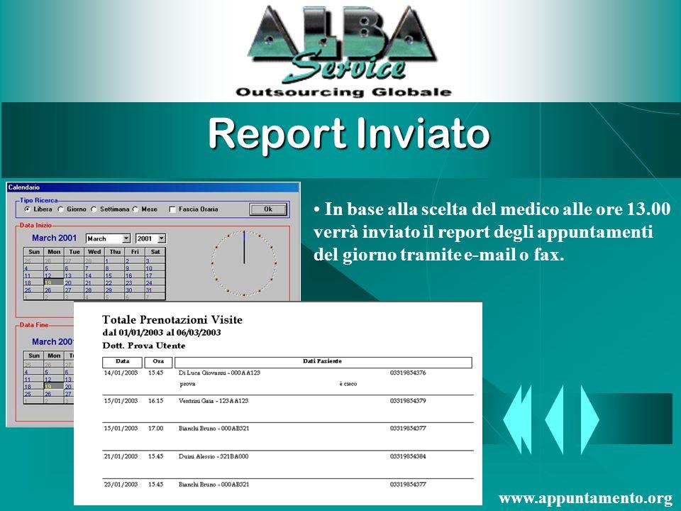 Report Inviato In base alla scelta del medico alle ore 13.00 verrà inviato il report degli appuntamenti del giorno tramite e-mail o fax.