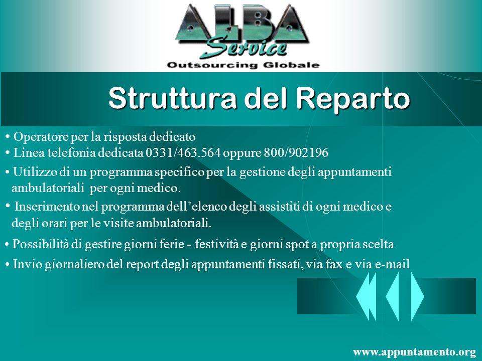 Struttura del Reparto Operatore per la risposta dedicato. Linea telefonia dedicata 0331/463.564 oppure 800/902196.