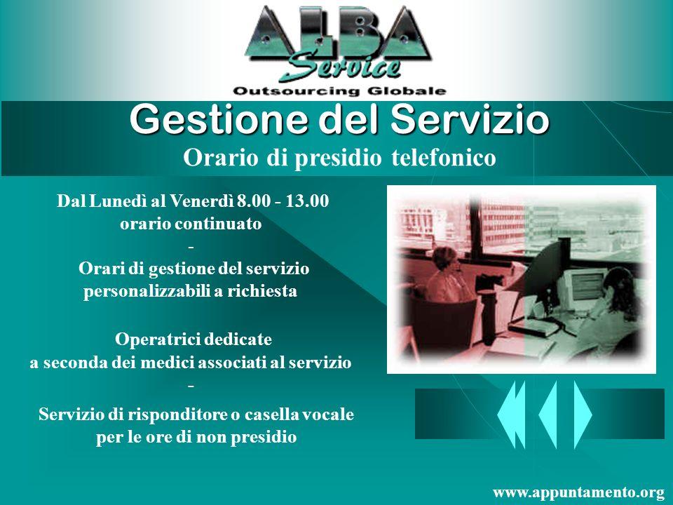 Gestione del Servizio Orario di presidio telefonico
