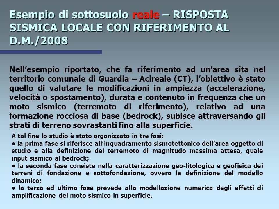 Esempio di sottosuolo reale – RISPOSTA SISMICA LOCALE CON RIFERIMENTO AL D.M./2008