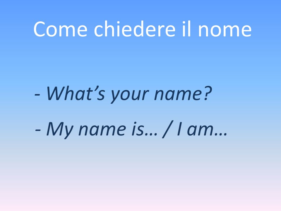 Come chiedere il nome - What's your name - My name is… / I am…