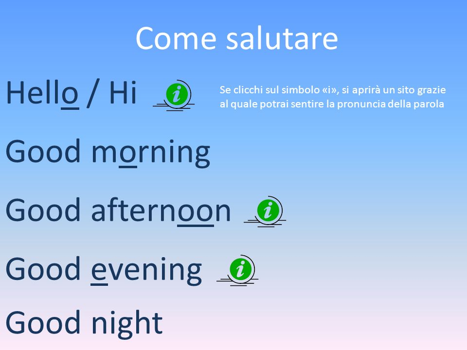 Come salutare Hello / Hi Good morning Good afternoon Good evening