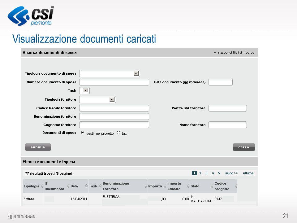 Visualizzazione documenti caricati