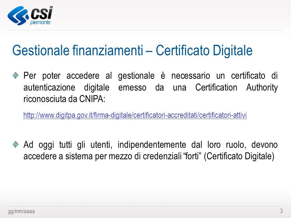 Gestionale finanziamenti – Certificato Digitale