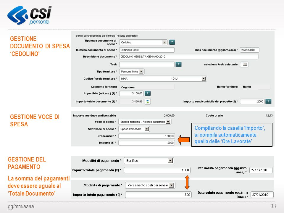 GESTIONE DOCUMENTO DI SPESA 'CEDOLINO'