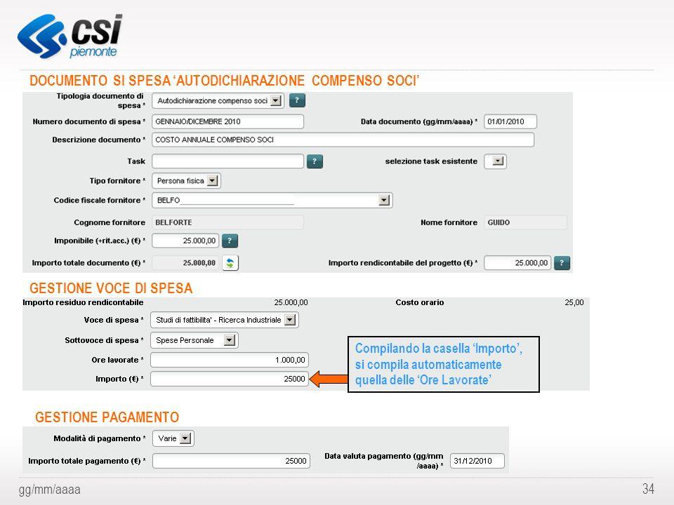 DOCUMENTO SI SPESA 'AUTODICHIARAZIONE COMPENSO SOCI'