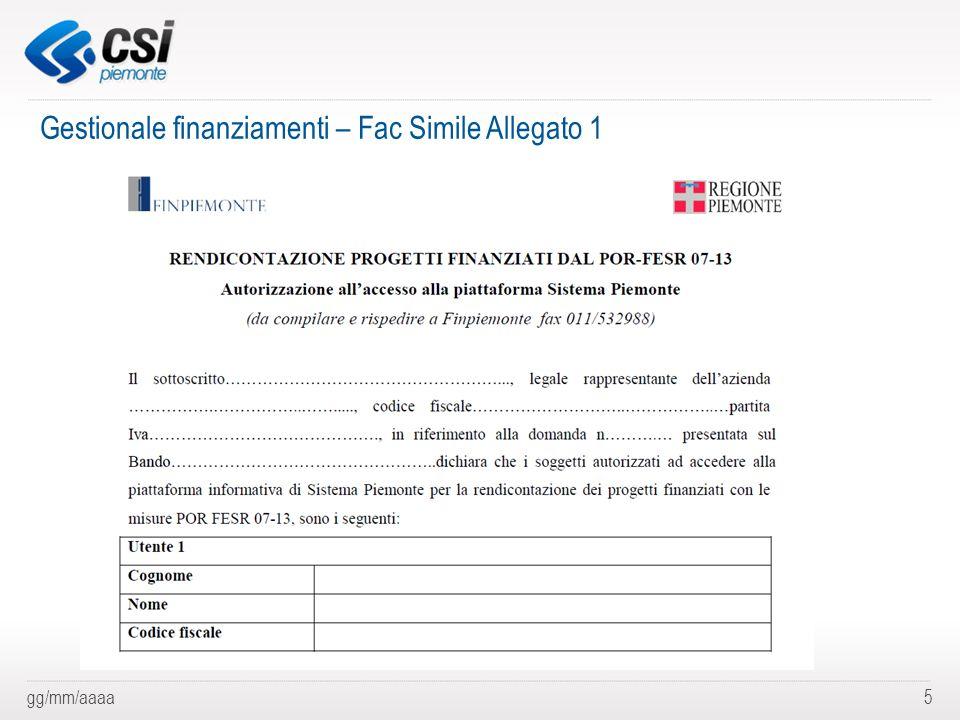 Gestionale finanziamenti – Fac Simile Allegato 1