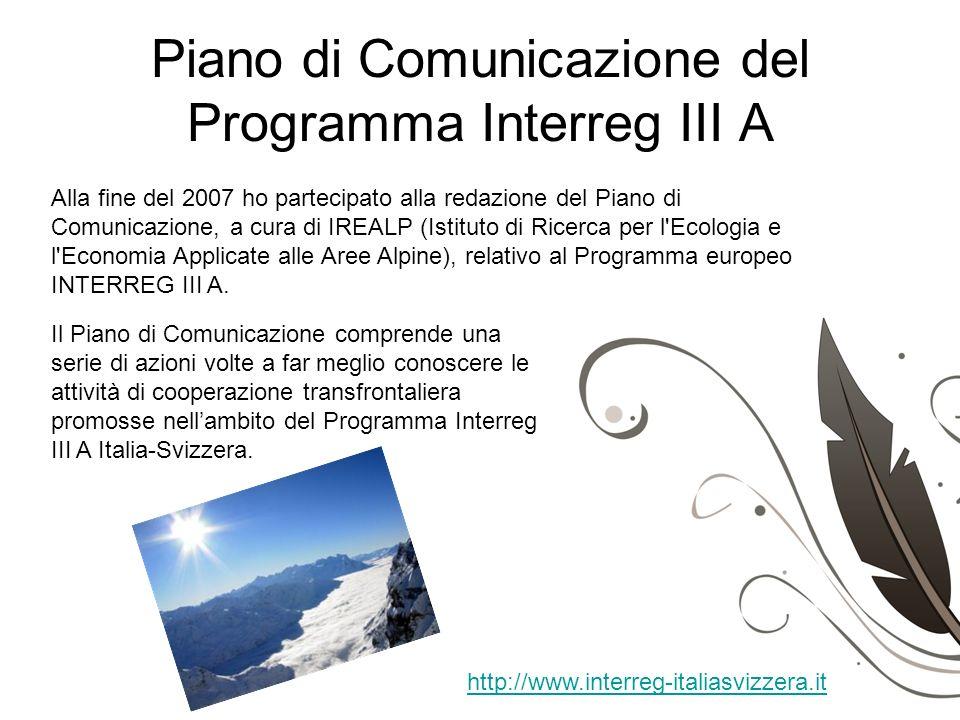 Piano di Comunicazione del Programma Interreg III A