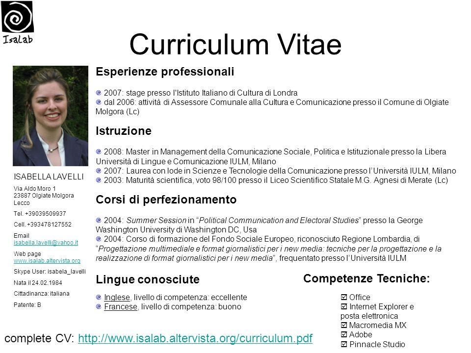 Curriculum Vitae Esperienze professionali Istruzione