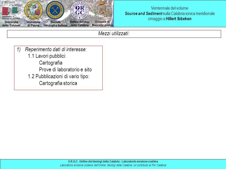 Reperimento dati di interesse: 1.1 Lavori pubblici: Cartografia