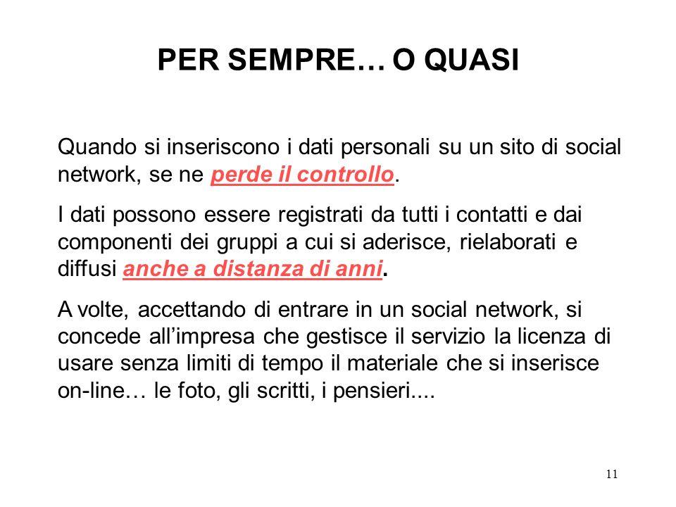 PER SEMPRE… O QUASI Quando si inseriscono i dati personali su un sito di social network, se ne perde il controllo.