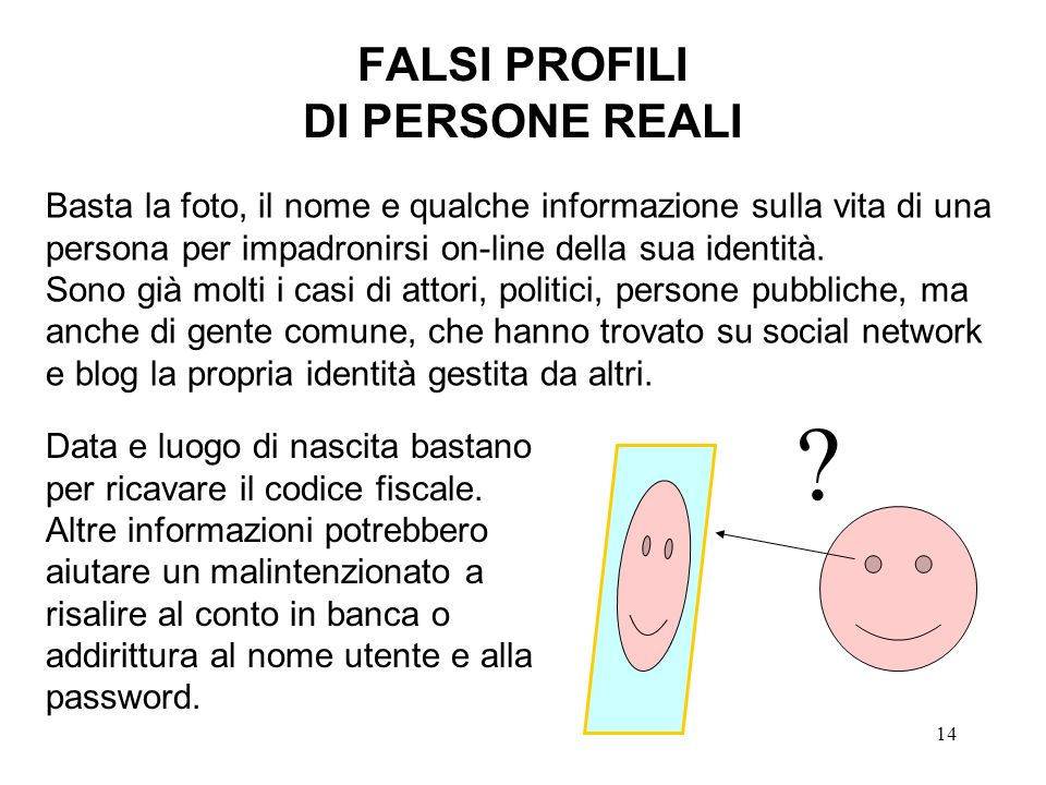 FALSI PROFILI DI PERSONE REALI
