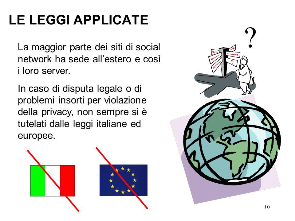LE LEGGI APPLICATE La maggior parte dei siti di social network ha sede all'estero e così i loro server.