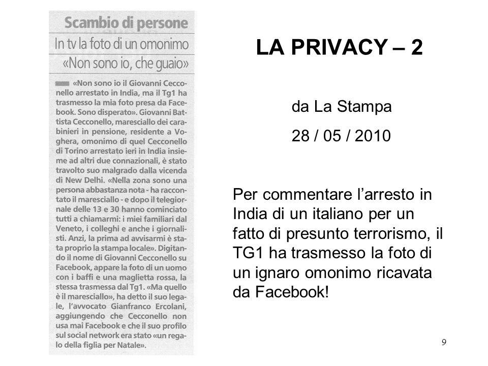 LA PRIVACY – 2 da La Stampa 28 / 05 / 2010
