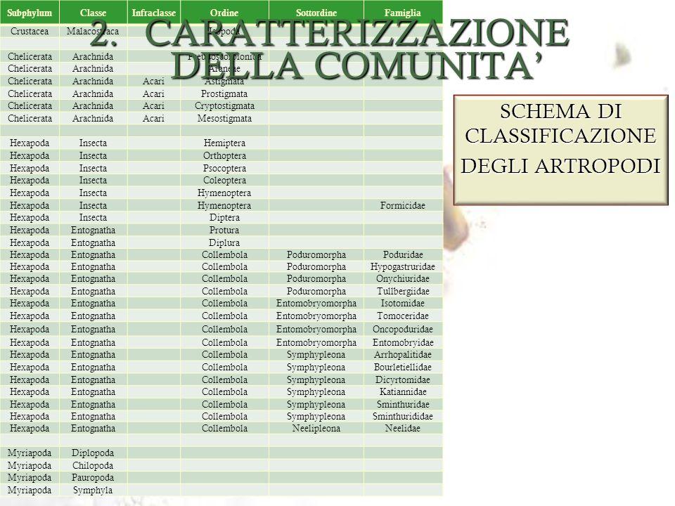 CARATTERIZZAZIONE DELLA COMUNITA'