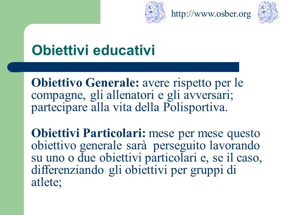 Obiettivi educativi Obiettivo Generale: avere rispetto per le compagne, gli allenatori e gli avversari; partecipare alla vita della Polisportiva.