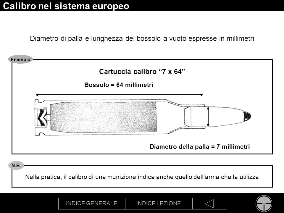 Calibro nel sistema europeo