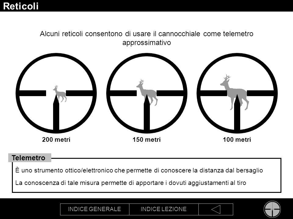 Reticoli Alcuni reticoli consentono di usare il cannocchiale come telemetro approssimativo. 200 metri.